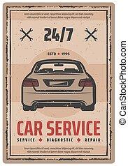 Auto repair service retro poster with vintage car