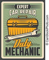 Auto repair service vintage poster