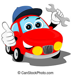 the red car in the cap, holding a wrench and shows that all is well