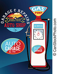 Auto repairs and gas pump