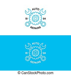 Auto repairs logo set with gear and wrench line style for auto service shop, car fix