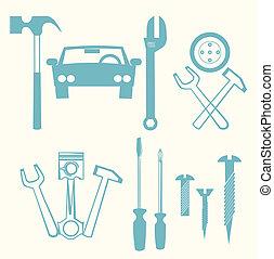 auto- reparatur, heiligenbilder