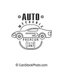 auto- reparatur, werkstatt, schwarz weiß, etikett, design, schablone