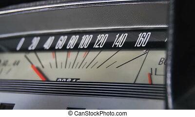 auto, retro, speedometer.