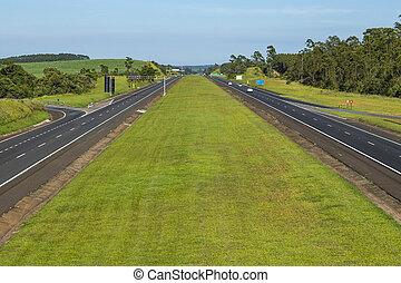 Auto Roads Straight. Highway Castelo Branco.