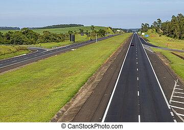 Auto Roads Straight. Highway Castelo Branco, Sao Paulo state, Brazil South America.
