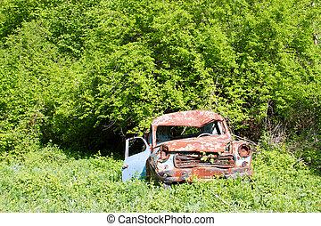 auto, roestige , oud, tuin