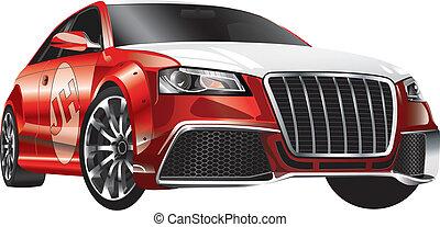auto, rood