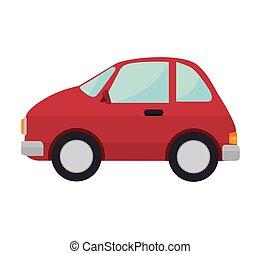 Auto, rood, voertuig, sedan, tekening, vervoeren. Tien, auto, eps ...