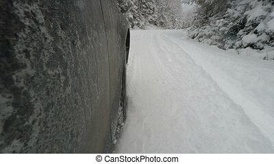 auto, rutschen, in, winterwege