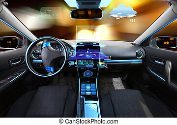 auto, salon, met, navigatiesysteem, en, meteo, sensors