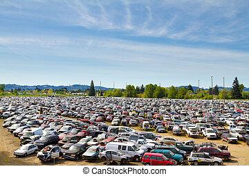 Auto Salvage Yard Junkyard - The scene shows many cars and ...