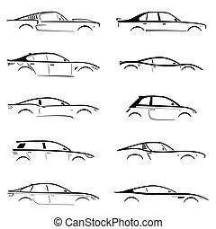 auto, satz, begriff, silhouette, schwarz