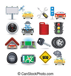 auto, satz, ikone