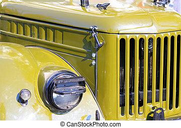 auto, scheinwerfer, grün, retro