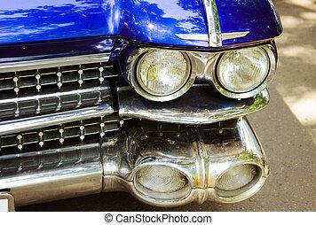 auto, scheinwerfer, retro, rotes