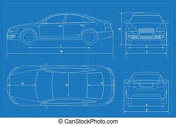 Front, auto, silhouette, detail. Silhouette, auto,... Clipart Vektor ...