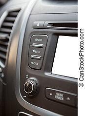 auto, scherm, vrijstaand, lcd, dashboard, witte