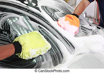 auto, schildernd, waschen