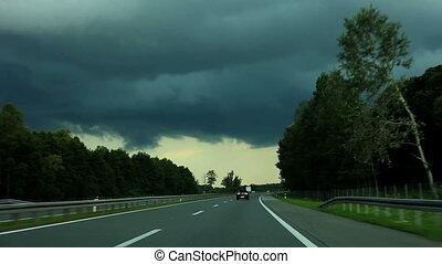 Auto, schlechte, Wetter, fahren