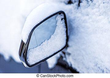 auto, schnee, spiegel