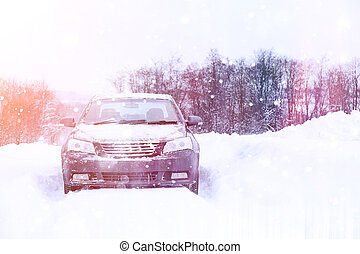 auto, schneebedeckt, steht, straße