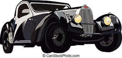 auto, schwarz, klassisch