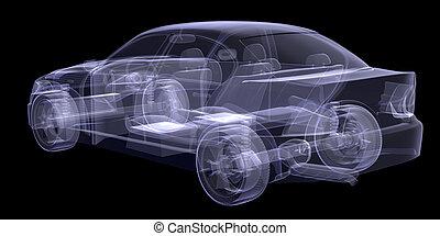 auto, schwarz, röntgenaufnahme