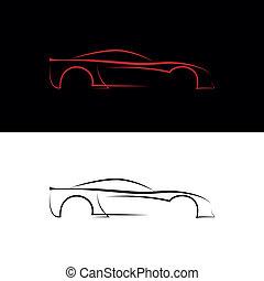 auto, schwarz rot, logos