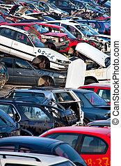 auto, scrapyard, wracks, altes