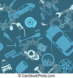 auto, seamless, dienst, motieven
