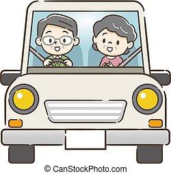 auto, senior koppel, geleider