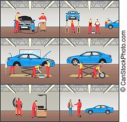 Auto Service and Car Garage Color Vector Cards Set