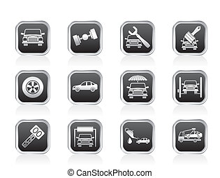 service and transportation icons - auto service and ...