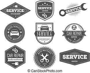 Auto Service Black White Emblems