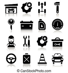 Auto Service Black White Icons Set