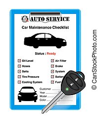auto service car check sheet with car remote key