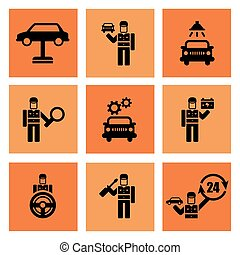 Auto Service Car Mechanic Repair Icons