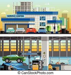 Auto Service Flat Horizontal Banners