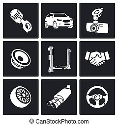Auto service Icon set - Car service icons collection on a ...