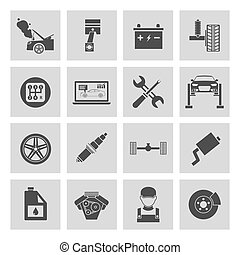 Auto Service Icons - Auto car service icons set of battery...