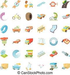 Auto service icons set, cartoon style
