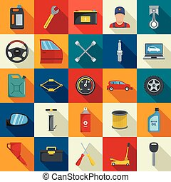 Auto service icons set, flat style