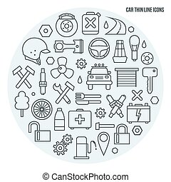 Auto service icons set in thin line style. Black print on a...