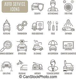 Auto Service icons. Set of vector pictogram