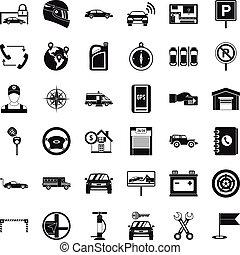 Auto service icons set, simple style