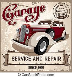 Auto service retro poster. Grungy style vector design.