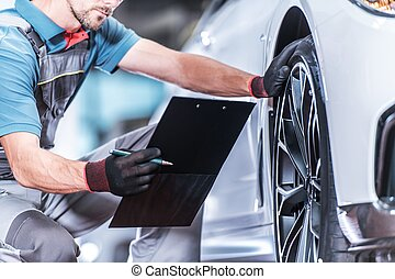 Auto Service Industry. Caucasian Car Technician with Vehicle...