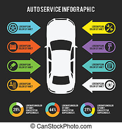 Auto mechanic car service infographic template with charts and maintenance elements vector illustration