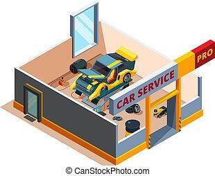 Auto service isometric. Car garage repair details cross section room automobile service vector interior